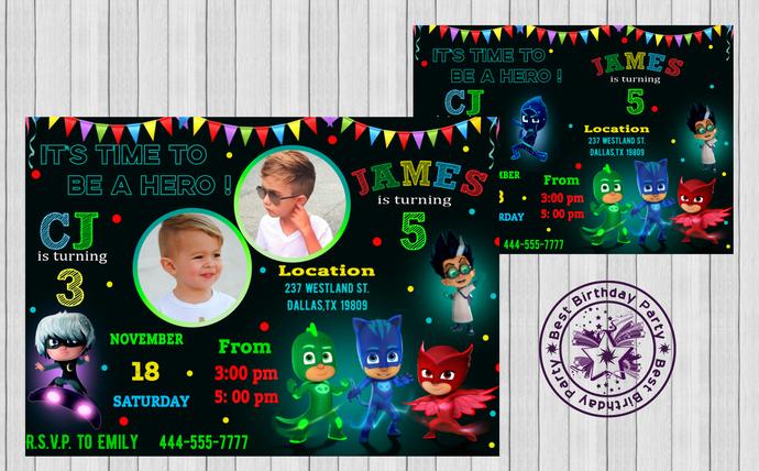 Pj Masks Boys Birthday Invitations Double Party Invites Mask