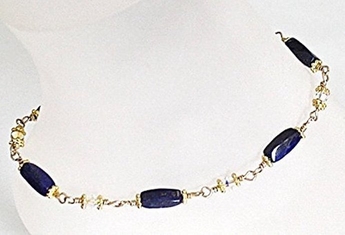 Rich Sterling Silver Lapis & Crystal Wire Wrapped Anklet