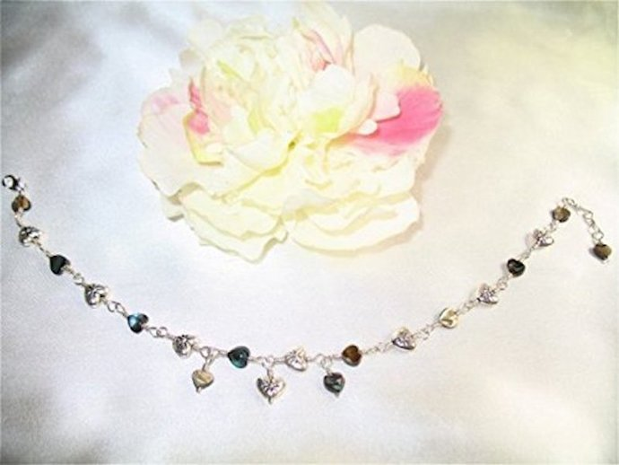 Abalone Heart Sterling Silver Charm Anklet