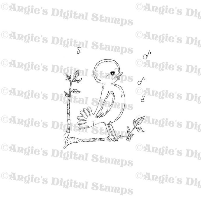 Bird Singing Digital Stamp