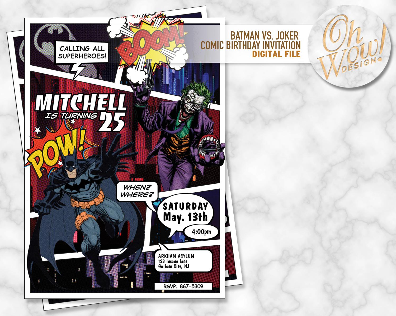 Batman Comic Book Birthday Invitation: Digital by OhWowDesign on