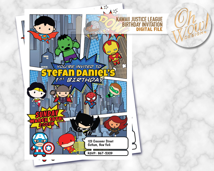 Kawaii justice league vs avengers birthday by ohwowdesign on zibbet kawaii justice league vs avengers birthday invitation digital file stopboris Images