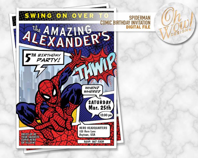 Spiderman Comic Book Invitation: Digital file