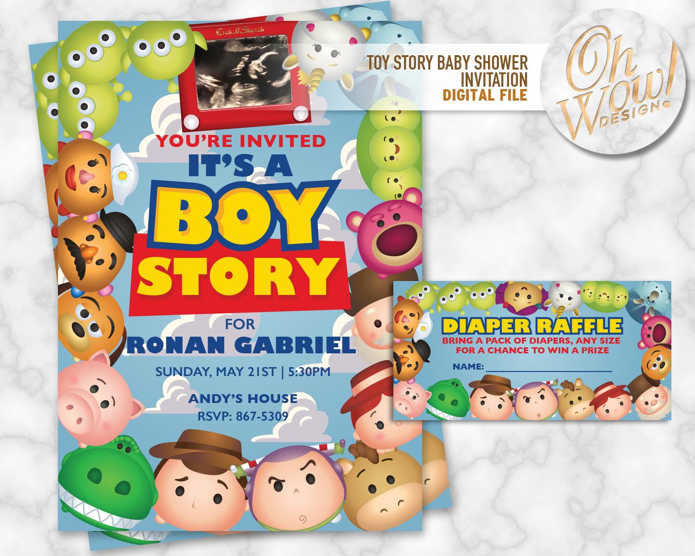 Tsum Tsum Toy Story Baby Shower Invitation By Ohwowdesign On Zibbet