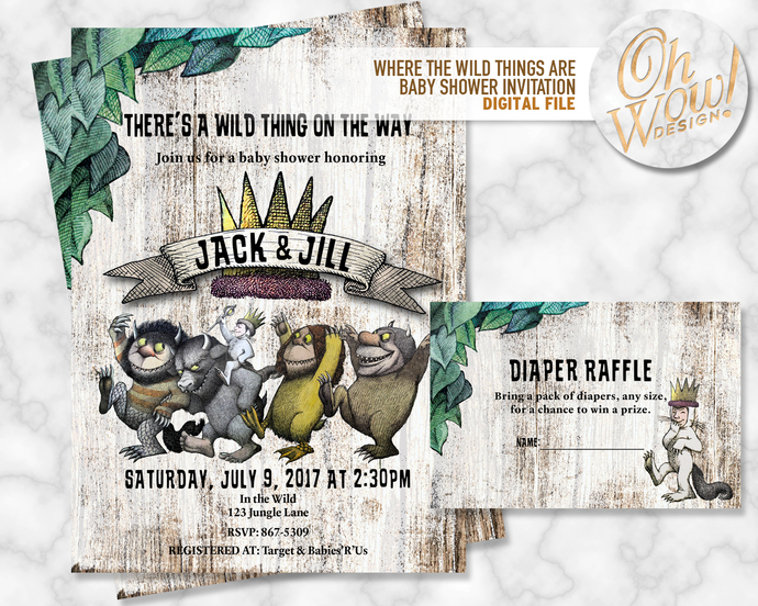 Where The Wild Things Are Baby Shower Invitation: Digital File