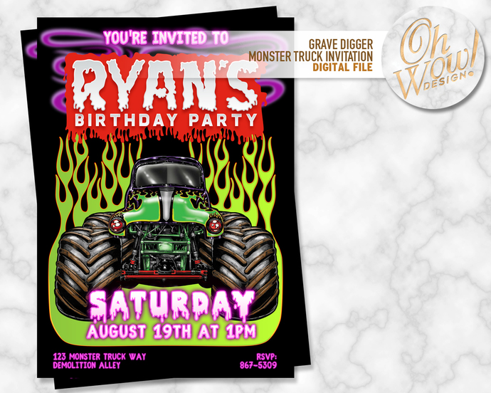 Grave digger monster truck birthday by ohwowdesign on zibbet grave digger monster truck birthday invitation digital file filmwisefo
