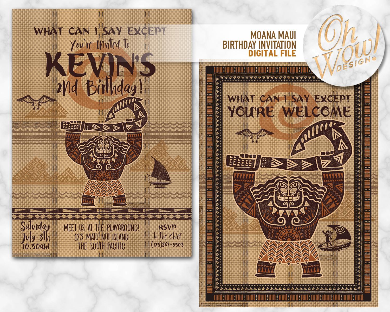 Moana Birthday Invitation Digital By OhWowDesign On Zibbet