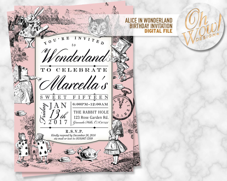 Alice in Wonderland Birthday Invitation: by OhWowDesign on Zibbet