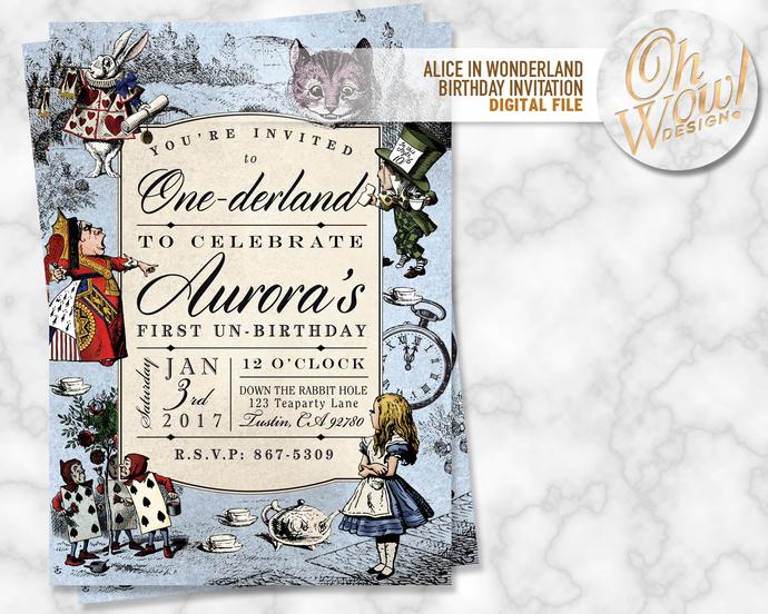 Alice in Wonderland Birthday Invitation: Digital file
