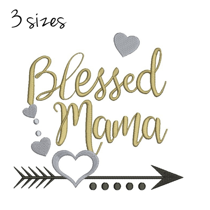 Embroidery Machine Designs Blessed Mama Happy Mother's day Mom Machine Digital