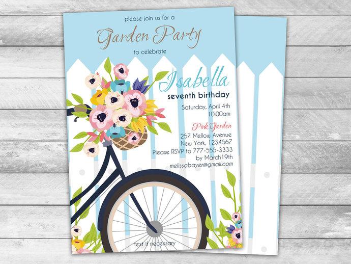 Spring Garden Birthday Invitations Editable File, Girl Garden Themed Party