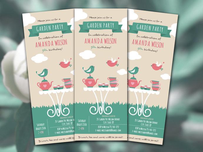Girl Garden Tea Party Invitation Editable File, Spring Garden Themed Party