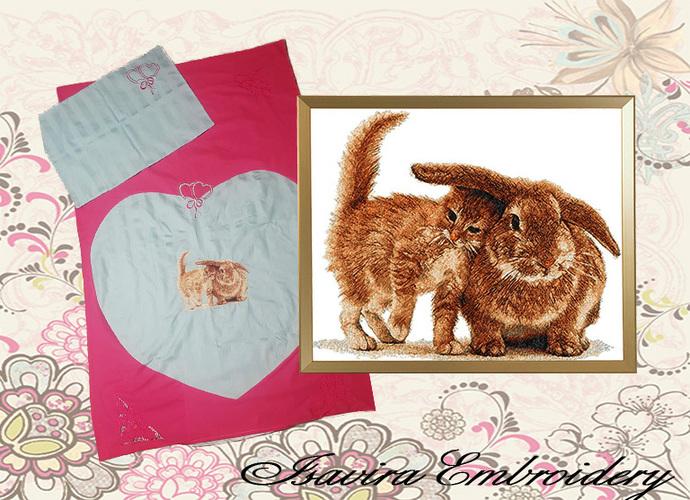 Machine embroidery design 'Cat and Rabbit', PhotoStitch, animals