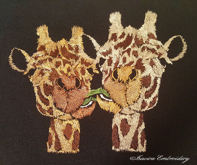Machine embroidery design 'Giraffes', animals, funny