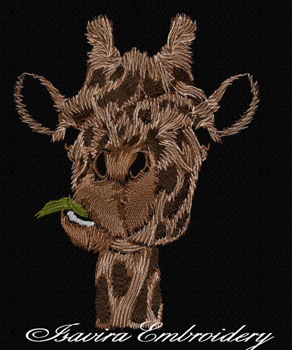 Machine embroidery design 'Big giraffe', animals, funny