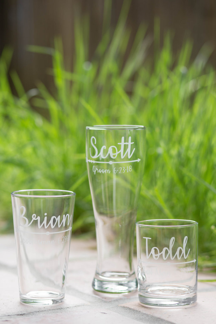 Boho Style Arrow Personalized Groomsmen Glasses with Names, Titles and Wedding