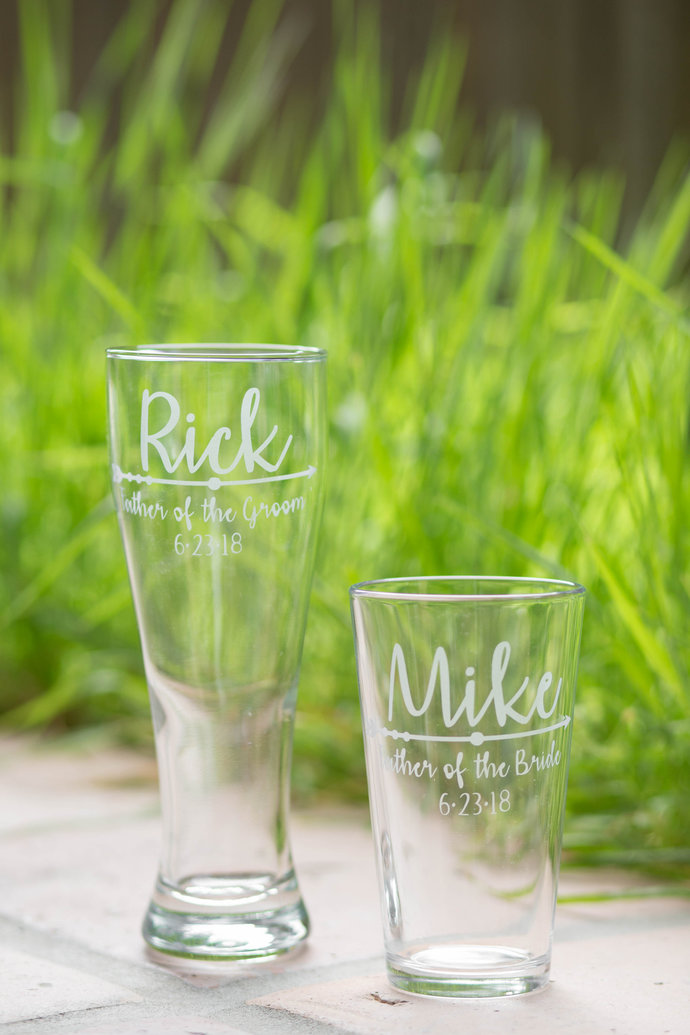 Boho Wedding Arrow Father of the Bride Glass and Gift for Father of the Groom
