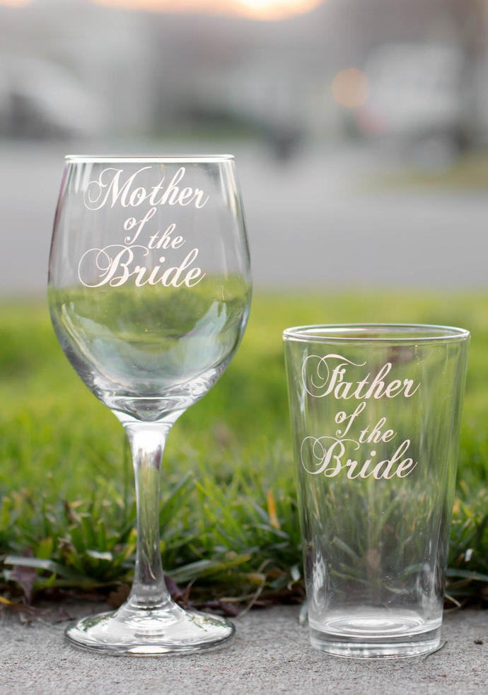 Mother of the Bride Glass and Father of the Bride Glass, Hand Engraved Set of 2,