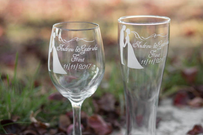 Gift for Bride and Groom, Toasting Glasses with Names and Wedding Date, More