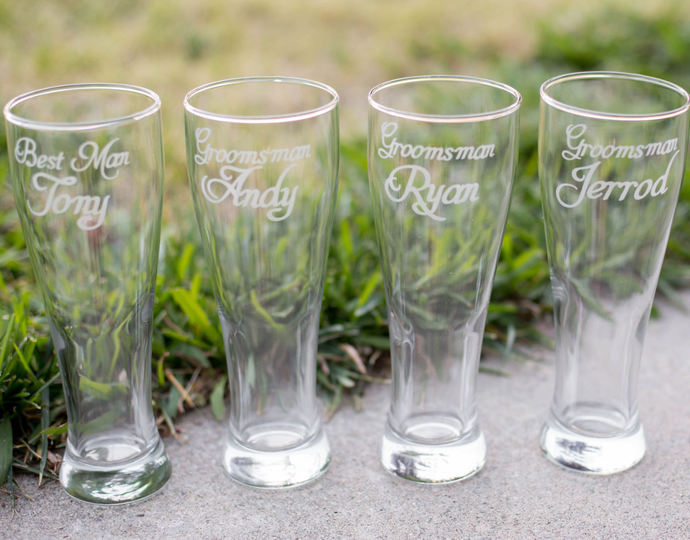 Set of 4 Personalized Groomsmen Beer Glasses with Names and Wedding Date, Hand