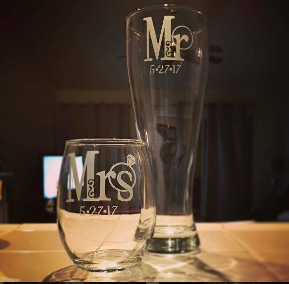 Mr. and Mrs. Glasses with Wedding Ring Designs and Wedding Date, Set of 2, Mr.