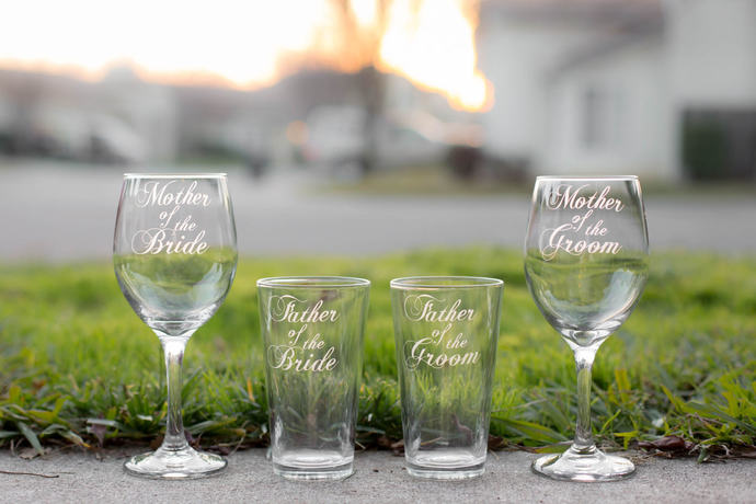 Mother of the Bride Glass, Mother of the Groom Glass, Father of the Bride Glass