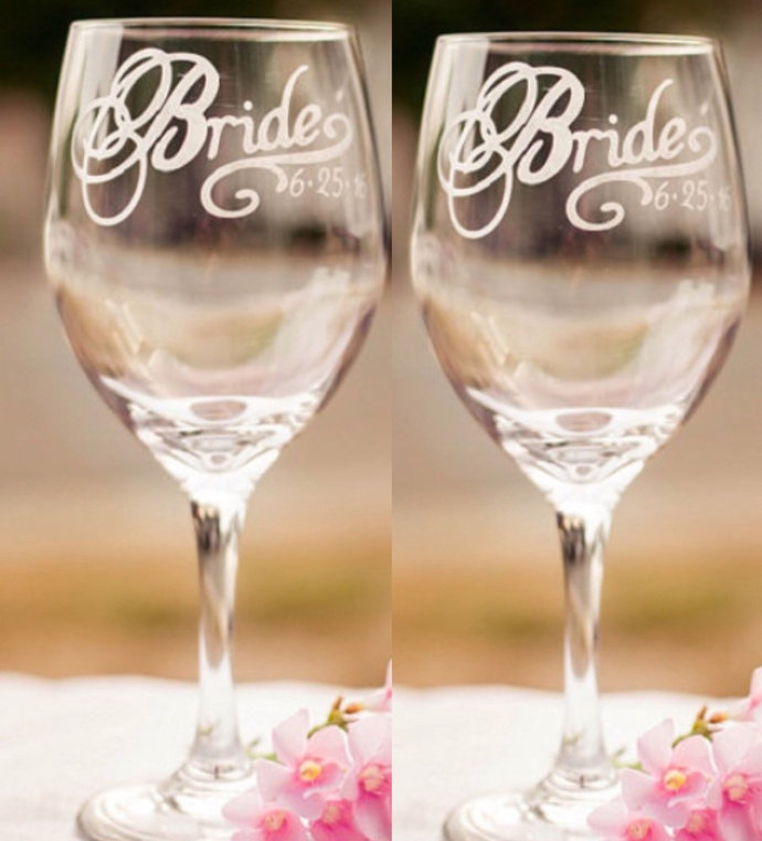 Lesbian Wedding, Bride and Bride Wine Glasses with Wedding Date, More Glass