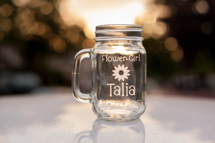 Flower Girl Glass, Personalized Mason Jar with Name, Date and Flower Design,