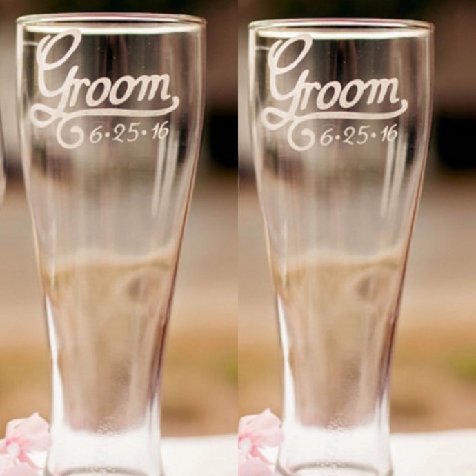 Gay Wedding Gift, Grooms Toasting Glasses with Wedding Date, More Glass Types