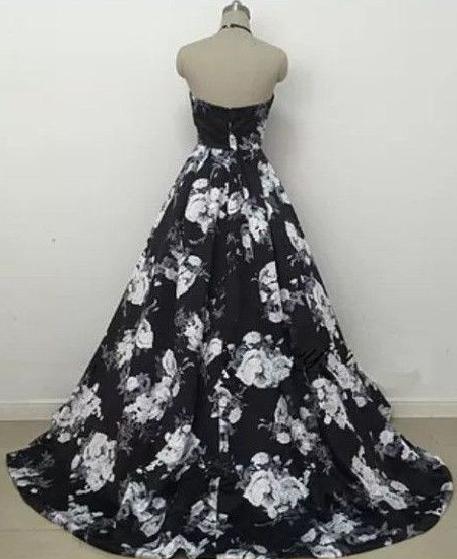 Charming Prom Dress,Satin Prom Gown,Print Prom Dress,Halter Prom Gown 827