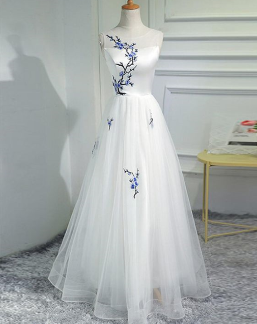Charming Prom Dress,A-Line Prom Gown,Appliques rom Dress,Tulle Prom Gown 848