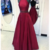 Burgundy Prom Dress,Satin Prom Gown,Halter rom Dress,Backless Prom Gown 849