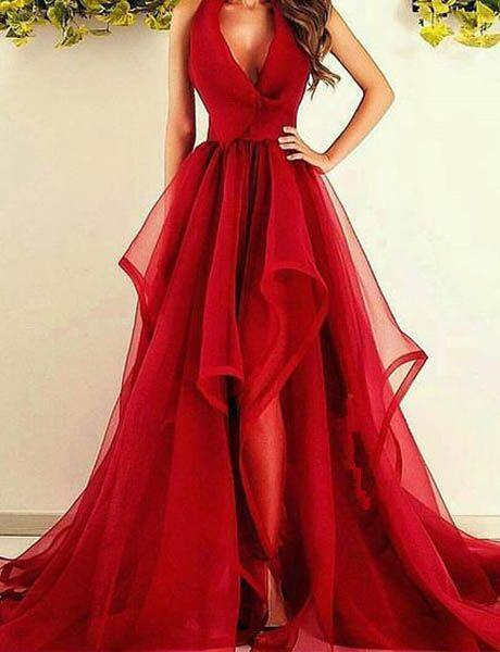 Red V-Neck A Line Prom Dress ,Cheap Prom Dress,Formal Dress,841401