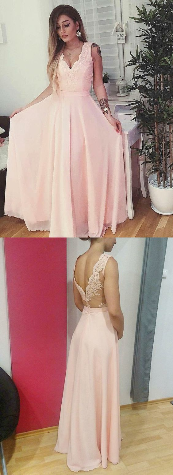 elegant pink chiffon long prom dress with side slit, 2018 prom dress, pink long