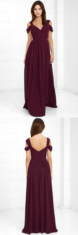 burgundy long prom dress, simply long prom dress graduation dress