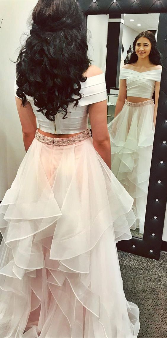 two piece white and pink long prom dress, 2018 prom dress, off the shoulder long
