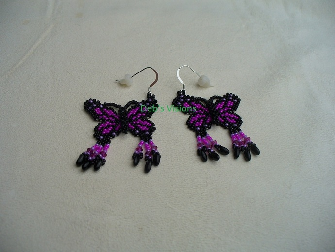 Native American Style Brick Stitched 3D Butterfly Earrings in Black and Hot Pink