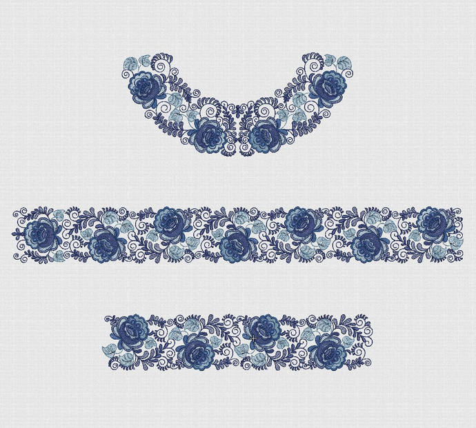 Embroidery Design - Instant Download Embroidery designs set blue gzhel hoop 5 x