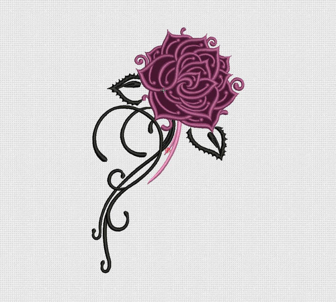 Rose machine embroidery design  Floral embroidery Instant download