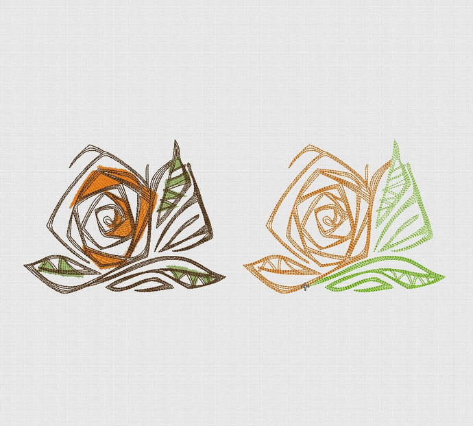 Rose machine embroidery design  Floral border embroidery Instant download Rose