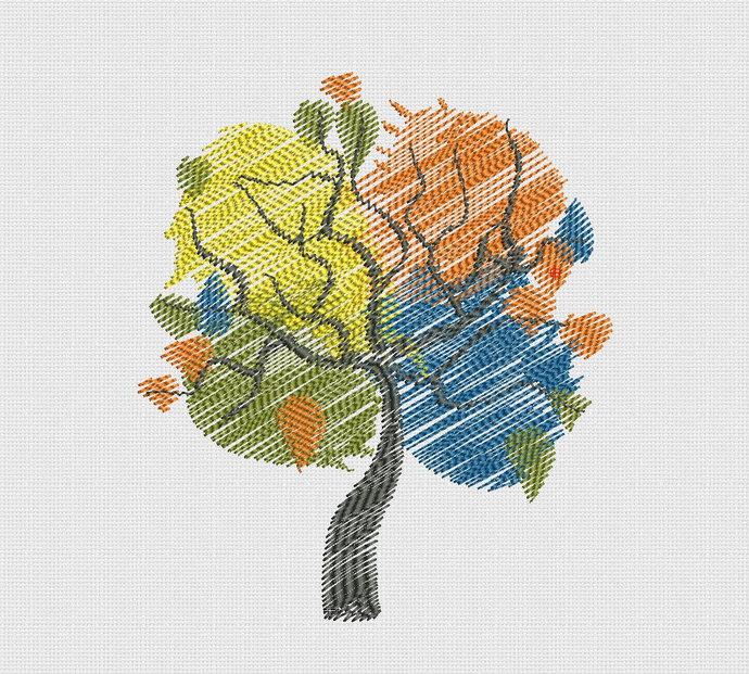 Embroidery design Tree seasons_pes hus jef dst exp vp3 vip xxx_ta133