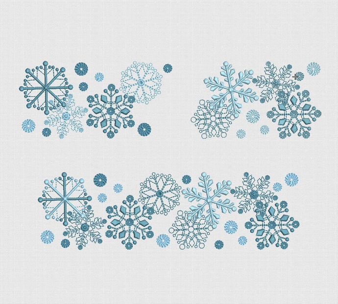 Embroidery Design Snowflakes For Instant Download hoop 5x7 in 18x13  30x18cm