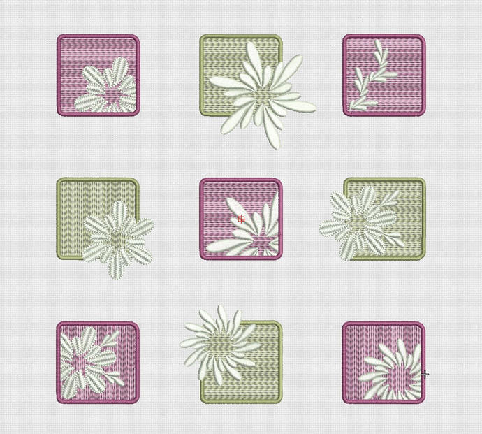 Flowers set squares Embroidery Design 4x4 hoop 10x10cm formats pes hus jef dst