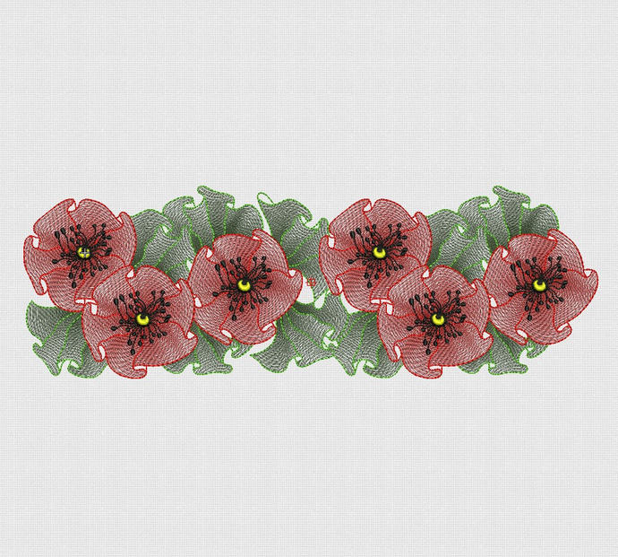 Embroidery Designs Delicate poppies pes hus jef dst exp vp3 vip xxx ta023