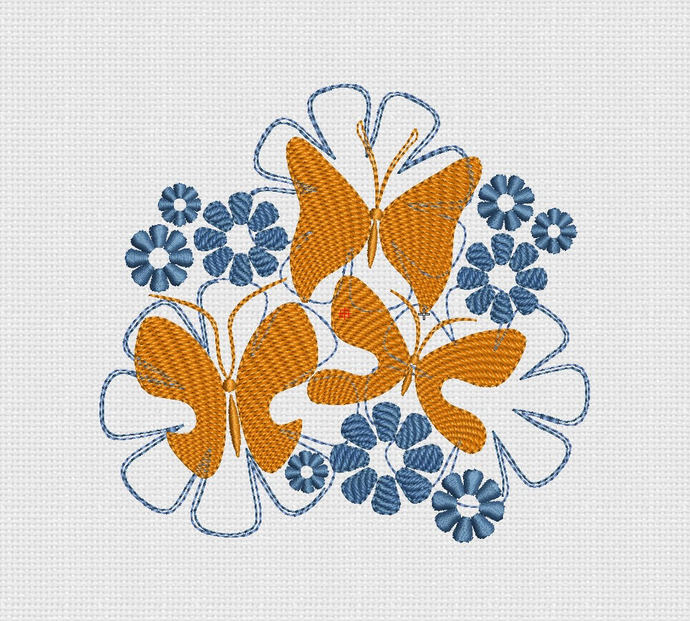 Embroidery design Butterfly flowers hoop 5x7 in 13 x 18 cm  pes hus jef dst exp