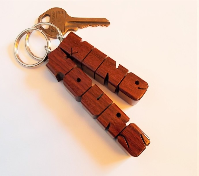 Name Keychain in Ipe Wood, Custom Carved to Order
