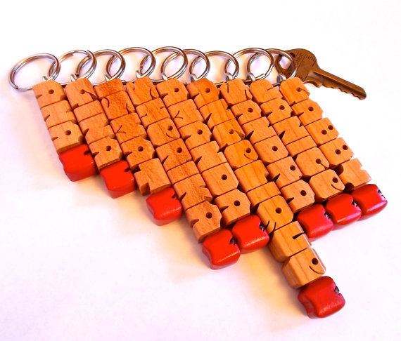 "Teacher's ""Apple"" Name Keychain in Cherry Wood, Custom Carved to Order"