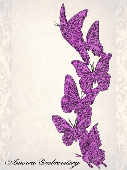 Machine embroidery design 'Butterflies', Vintage, clothes