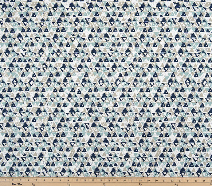 Vintage Indigo and taupe Fabric. Acute by TwistedBobbin on Zibbet