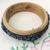 Wooden Bangle Bracelet with Carved Floral Design in Blue